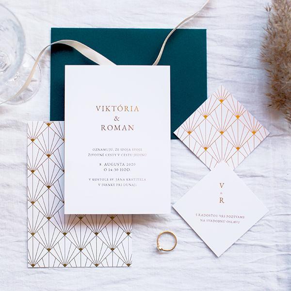 minimalistické svadobné oznámenie v štýle art deco - wedin