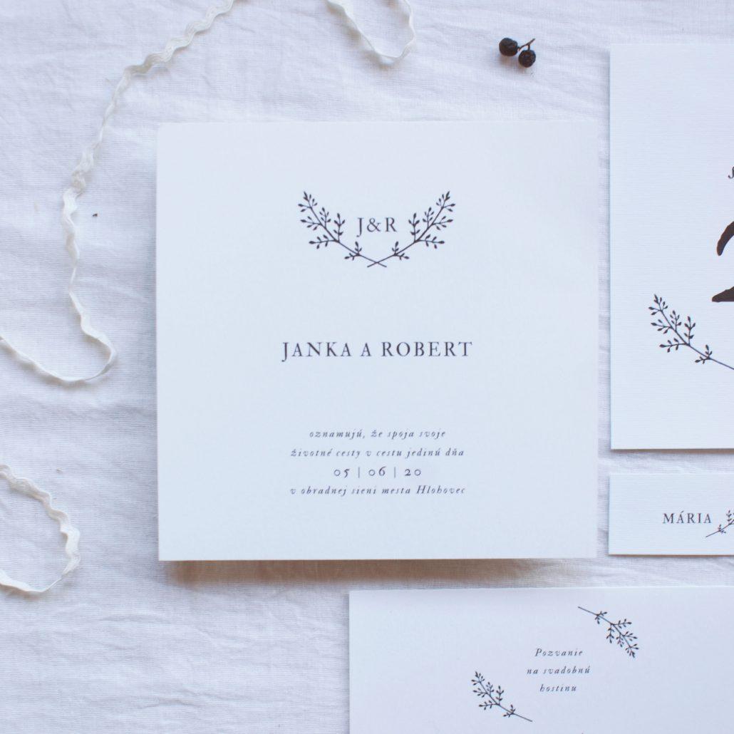 minimalistické svadobné oznamenie natural - Wedin