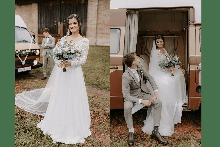 fotografia zo svadby s dodávkou veterán