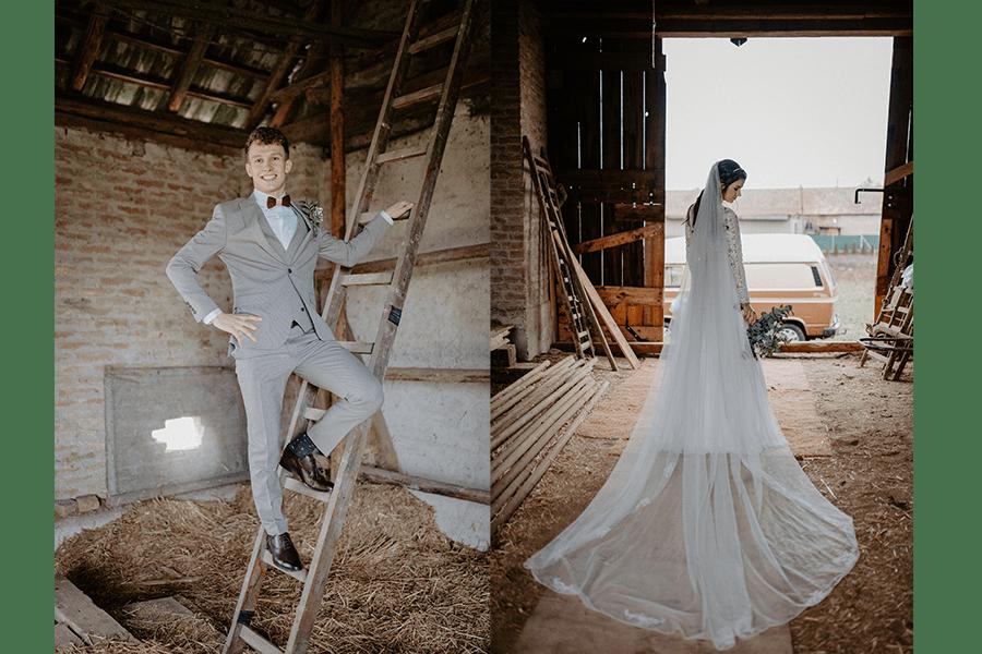 Svadobné fotografie v retro stodole