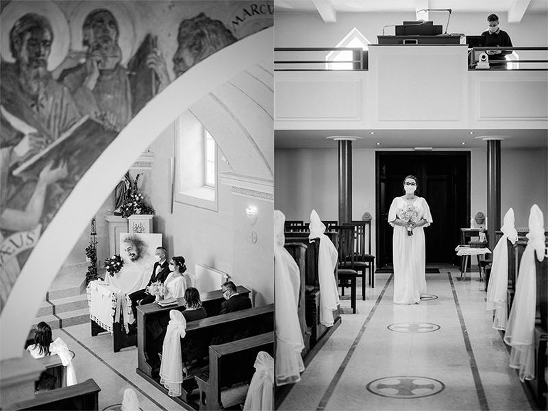 svadobný obrad v kostole čiernobiele