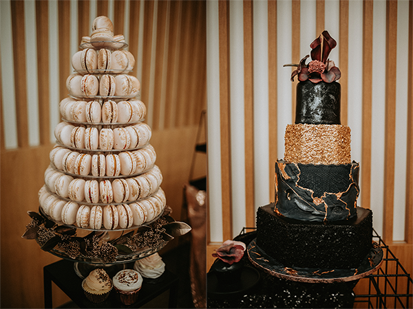 čierno zlatá svadobná torta s makronkami - svadobný príbeh
