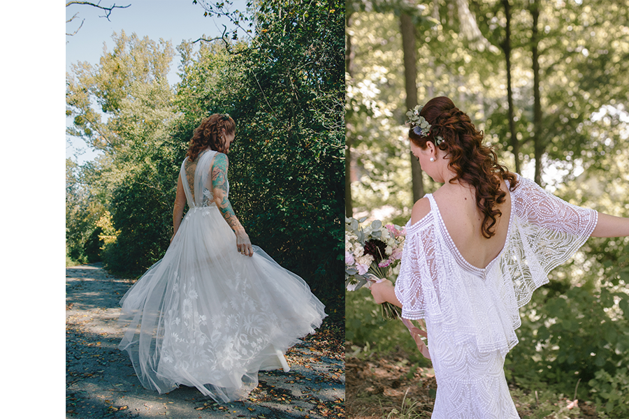 biele svadobné šaty so vzorom na rukávoch
