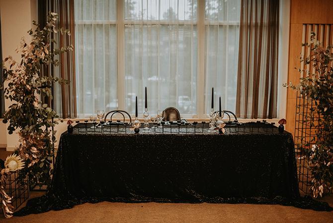 svadobná dekorácia čierna