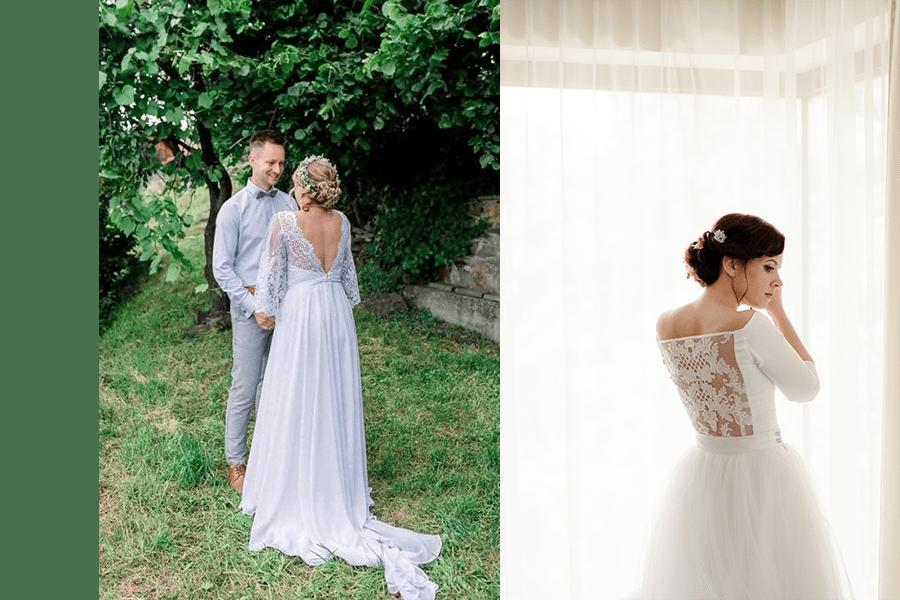 biele šaty na svadbu s holým chrbtom a krajkou