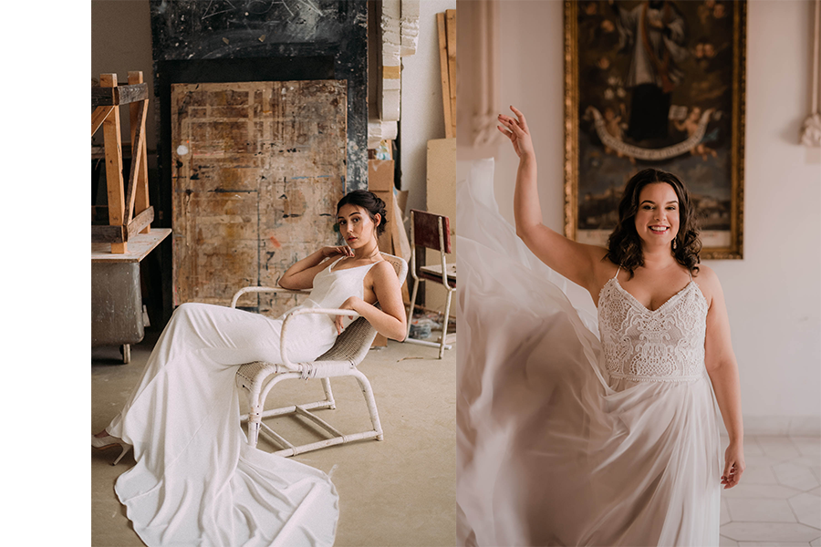 biele svadobné šaty s tenkými ramienkami.