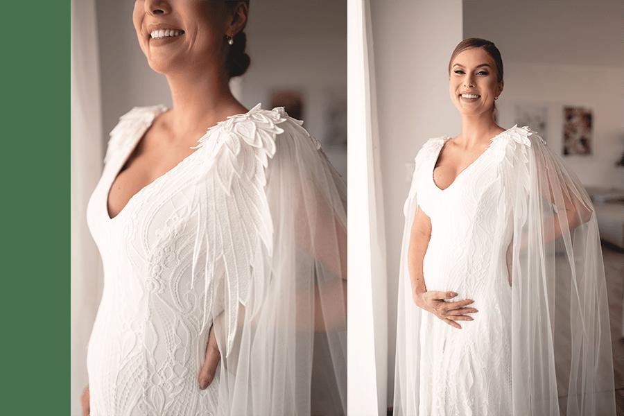 biele svadobné šaty pre tehotné so zdobenými rukávmi