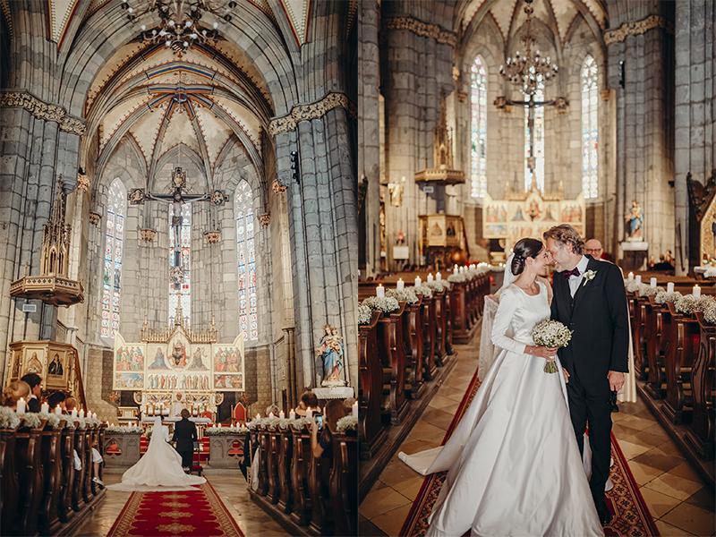 svadobná fotografia v katedrále v Hronskom Beňadiku