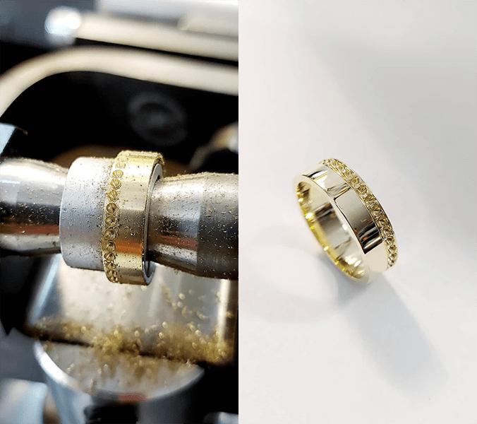 rozpracovaný zlatý prsteň