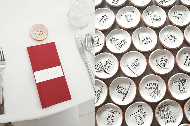 Keme - darčeky pre hostí - ručné keramické menovky