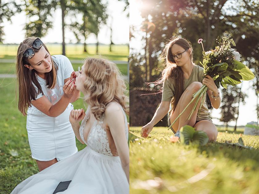 líčenie nevesty a aranžovanie na malú svadbu